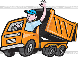 Dump Truck Driver Winken Cartoon - Vektor-Clipart / Vektorgrafik