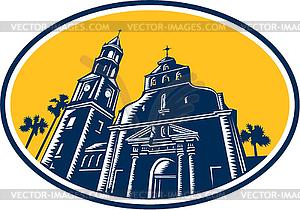 Cathedral Basilica of St. Augustine Holzschnitt Retro - vektorisiertes Clip-Art