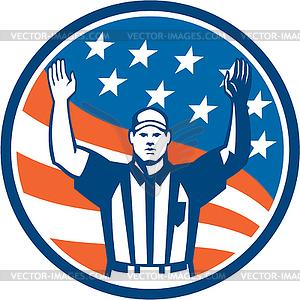American Football Offizielle Schiedsrichter Touchdown - Stock Vektor-Clipart