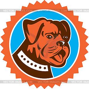 Bulldoggen-Hunde Mongrel-Kopf-Maskottchen Rosette - Vector-Clipart EPS