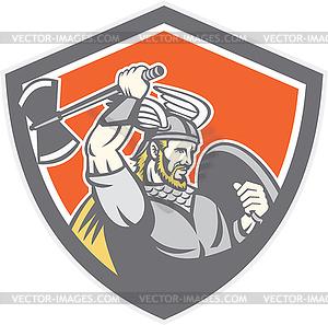 Viking Raider Barbar Krieger Axt Schild - vektorisiertes Clipart