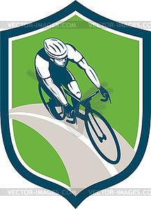 Radfahrer-Fahrrad-Reiter Schild Retro - Vektor-Clipart / Vektorgrafik
