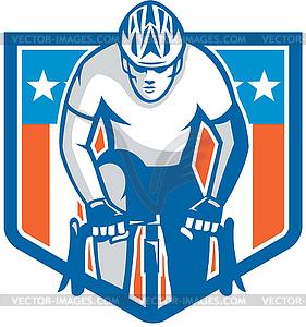 Amerikanische Radfahrer-Reit Fahrrad Radfahren Schild Retro - Vektor-Klipart