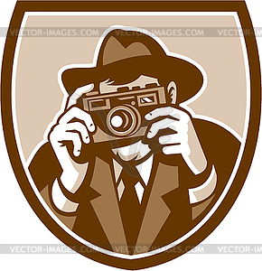 Fotograf Shooting Kamera Schild Retro - farbige Vektorgrafik