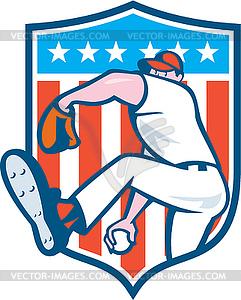 Baseball-Werfer-Außenfeldspieler-werfende Kugel Schild - vektorisierte Abbildung