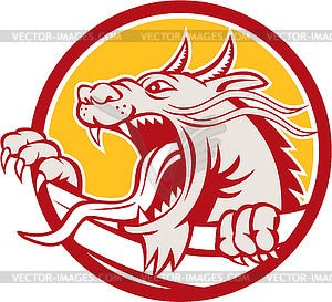 Chinese Red Dragon Head Knurren Kreis Retro - Stock Vektorgrafik