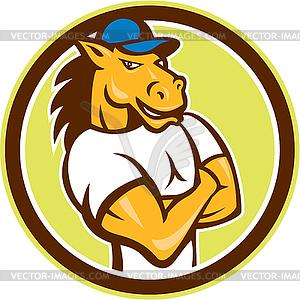 Pferde Arme verschränkt Kreis Cartoon - Vector-Clipart