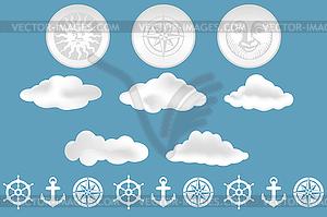 Wolken und nautischen Design-Elemente - Vektorgrafik