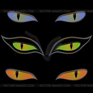 Drei Paar Katzenaugen über schwarz - Vektorgrafik