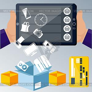 Online-E-Commerce-Technologie-Konzept Internet - Vektor-Bild