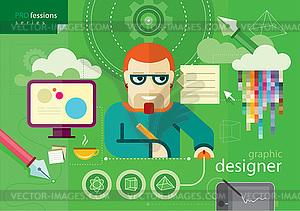 Grafikdesigner Beruf Serie - Stock Vektorgrafik