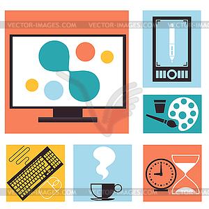 Set mit bunten Grafik, Web-Design-Ikonen - farbige Vektorgrafik
