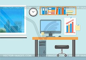 Moderne Büro-Interieur mit Designer-Desktop - Stock Vektor-Bild