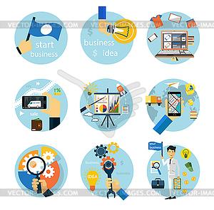 Symbole für Business, E-Shopping, Logistik eingestellt - vektorisiertes Clip-Art