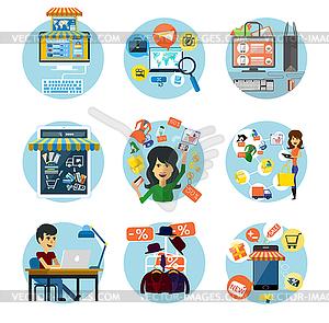 Set Flach Online-Shopping und Bankkonzepte - vektorisiertes Design