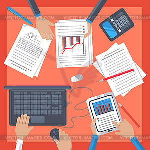 Business Workplace mit der Hand, Notebook, Tablet - Vector-Bild
