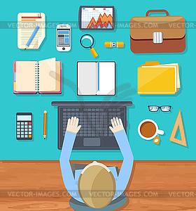 Draufsicht des Geschäftsmannes auf seinem Arbeitsplatz - Vector-Bild