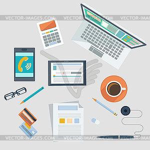 Konzept der Arbeitsplatz mit Bürogeräten und Artikel - Vektor-Design