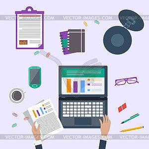 Draufsicht des Geschäftsmannes auf seinem Arbeitsplatz - Vector-Clipart / Vektorgrafik