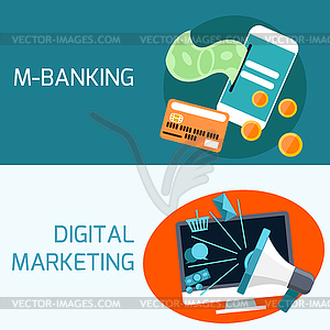 Konzept des Mobile Banking, digitales Marketing - Vektor-Illustration