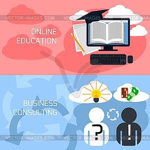Konzept der Online-Bildung, Unternehmensberatung - Vektor-Clipart / Vektor-Bild