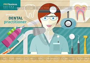 Zahnarzt in Uniform mit Instrument auf Arbeitsplatz - Stock Vektorgrafik