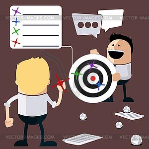 Glückliche Menschen Darts und Berechnung der Ergebnisse spielen - Vektor-Klipart