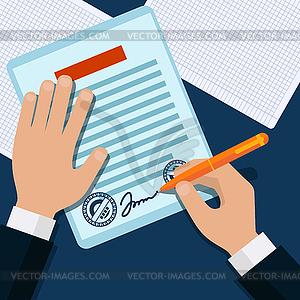 Man Zeichen Dokument gestempelt Griff setzt seine Unterschrift - Vektor-Clipart / Vektorgrafik