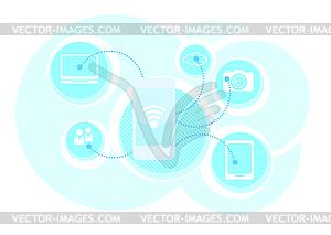 Cloud Computing-Schema-Konzept. Die Wireless-Technologie - Vektor-Clipart EPS