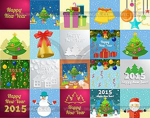Neues Jahr-Grußkarte mit Weihnachtsbaum Schneemann - Vektor-Clipart / Vektorgrafik