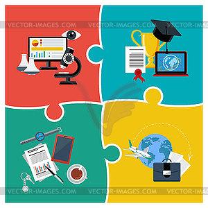 Online-Bildung, Wissenschaft und Wirtschaft - farbige Vektorgrafik