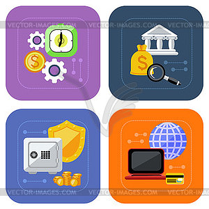 Bank- und Finanzinvestitionen Icon-Set - Royalty-Free Clipart