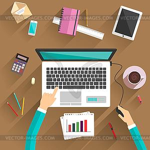 Draufsicht des Geschäftsmannes auf seinem Arbeitsplatz - Vektor-Bild