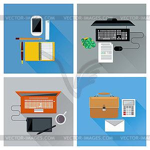 Arbeitsplatz mit digitalen Geräten Draufsicht Icon-Set - Vector-Clipart / Vektor-Bild