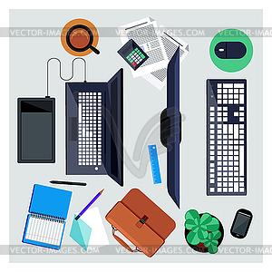 Arbeitsplatz mit Computer und Notebook-Konzept - farbige Vektorgrafik