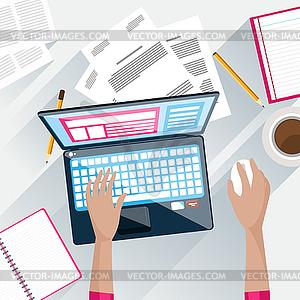 Draufsicht des Geschäftsmannes auf seinem Arbeitsplatz - Vektor-Abbildung