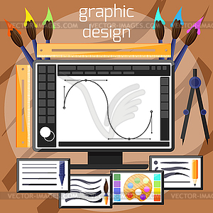 Grafische Gestaltung und Designer-Tools Konzept - vektorisiertes Bild
