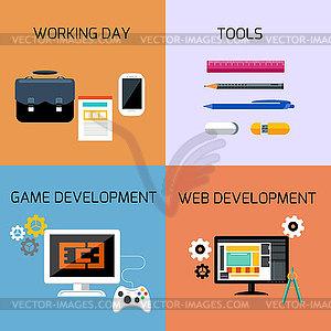 Spiele, Web-Entwicklung und Business-Tools-Icon-Set - vektorisierte Grafik