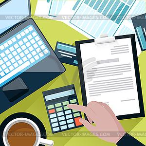 Schreibtisch mit Zählen auf Rechner - Vector-Clipart / Vektor-Bild