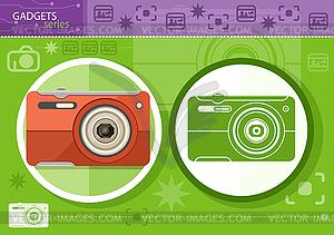 Digitalkamera in Rahmen auf grünem Hintergrund - Vektor-Abbildung