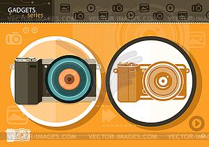 Digitalkamera in Rahmen auf orangefarbenen Hintergrund - vektorisierte Abbildung