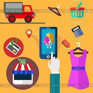 Internet-Shopping und Mobile-Banking-Konzept - vektorisierte Grafik