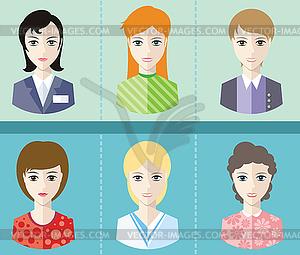 Frauen Avatare Porträts auf blauem Hintergrund - Stock-Clipart