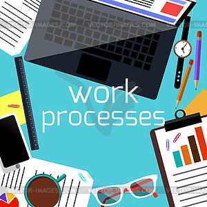 Büro-Schreibtisch mit Laptop, Smartphone, Schreibwaren - Vector-Clipart / Vektor-Bild