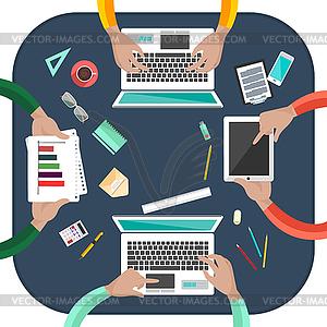 Arbeitsprozess von Business-Team-Konzept - Vektor-Clipart / Vektorgrafik