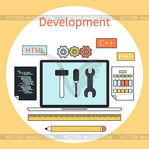 Web-Entwicklung Instrumente Konzept - Stock Vektorgrafik