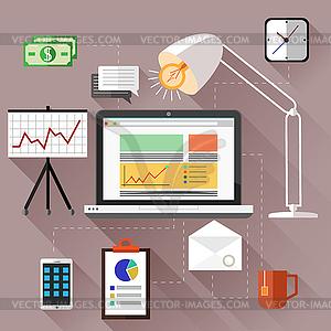 SEO-Optimierung, Programmierung Prozess - Vektor-Clipart EPS