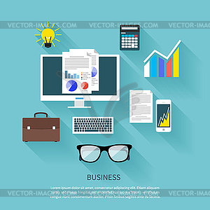 Financier Arbeitsplatz flache Design-Konzept - Vector-Clipart / Vektor-Bild