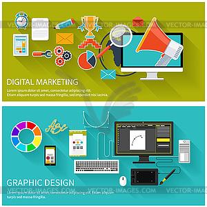 Digital-Marketing-Konzept. Grafik-Design - Vektor-Clipart / Vektorgrafik