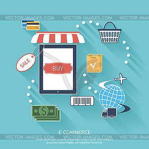 Internet-Shopping-Konzept-Smartphone mit Markise - vektorisiertes Bild